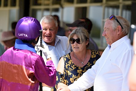 John Street, right, Lisa Latta and business manager Ian Middleton get the lowdown after a win