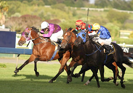 Fort Lincoln, rails, beating Antonio Lombardo, outer and Planet Rock in the 2011 Karaka Million at Ellerslie.
