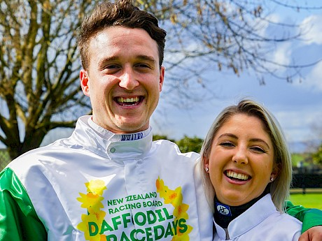 Zac Butcher, pictured with top jockey Sam Collett during a recent promotion for Daffodil day.