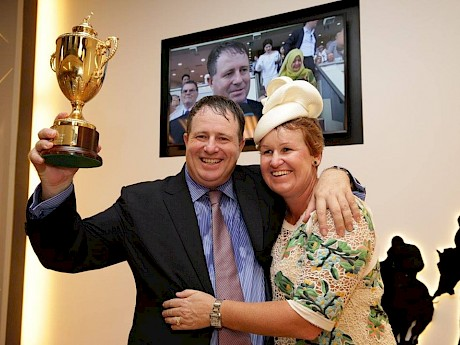 Stephen Gray and his wife Bridget celebrate Bahana's win in the Singapore Gold Cup.