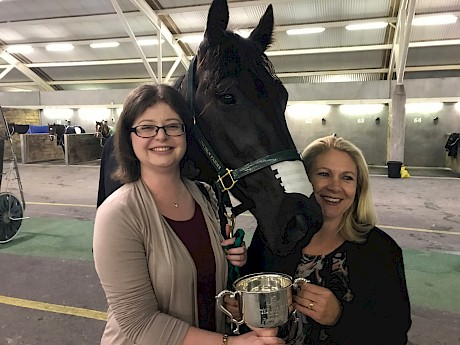 Shannon Flay, left, with office assistant Merle Gradwell, after Northview Hustler's Spring Cup win.