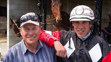 Trainer Robert Dunn, with son John who drove Onedin Reign.