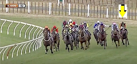 Turning for home at Te Aroha and Lincoln King is six wide.