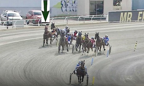 Lincoln's Girl, arrowed, makes a run five wide turning in despite having lost an early stretch, galloping out of the gate.