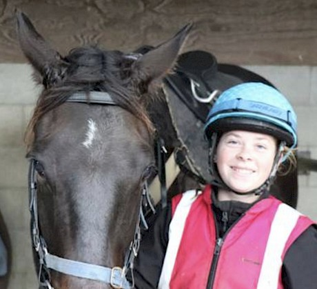Bridie Ansell with her first winner, Dr Watson, at Trentham.