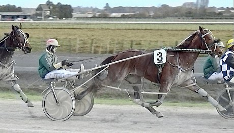 Copy That cruises along near the rear in today's Pukekohe workout before unleashing a good late sprint.