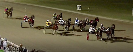 Down the stretch and Make Way is about to collar hot favourite Dazzle Me in the Redcliffe Derby.