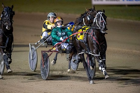 Hayden Barnes urges Trojan Banner on in his narrow win at Redcliffe. PHOTO: Michael McInally.