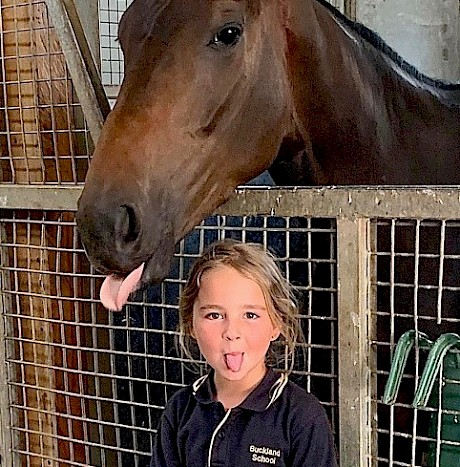Nigel Tiley's grand-daughter Isla having fun with Lincoln Springs.
