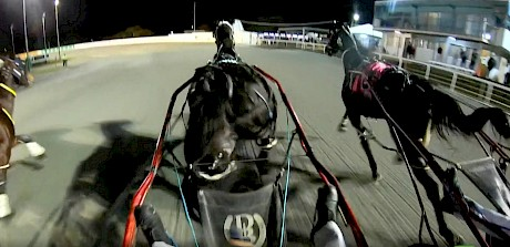 Sulky cam shows how driver Hayden Barnes saw the finish.